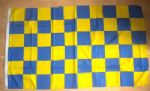 Blue and Yellow Checkered Large Flag - 5' x 3'.